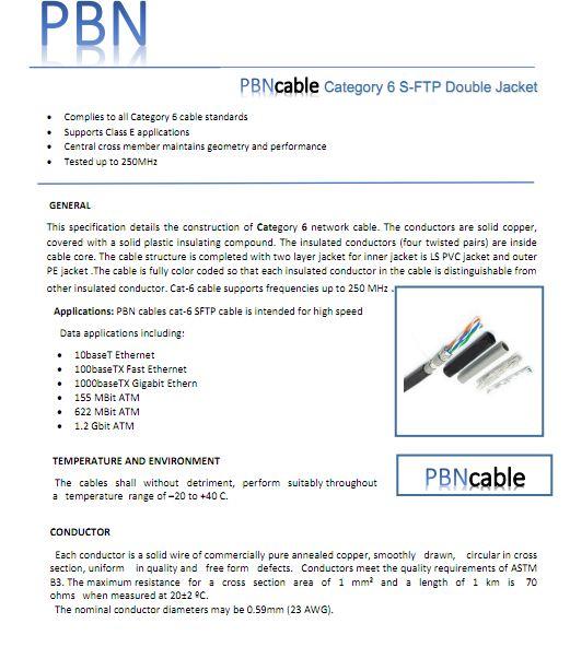 دانلود مشخصاتفنی کابل شبکه CAT6 SFTP DJ PBN