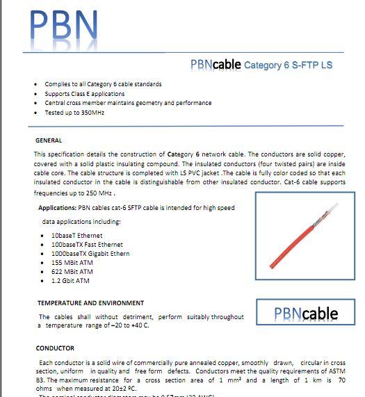 دانلود مشخصات فنی کابل شبکه CAT6 SFTP PBN با روکش LS