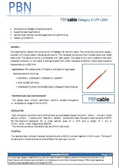دانلود دیتاشیت کابل شبکه CAT6 UTP PBN