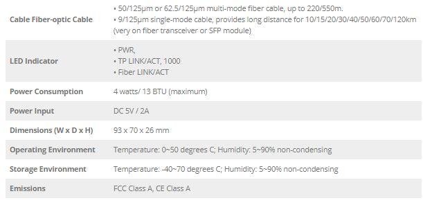 مشخصات فنی مدیاکانورتر GT-905A