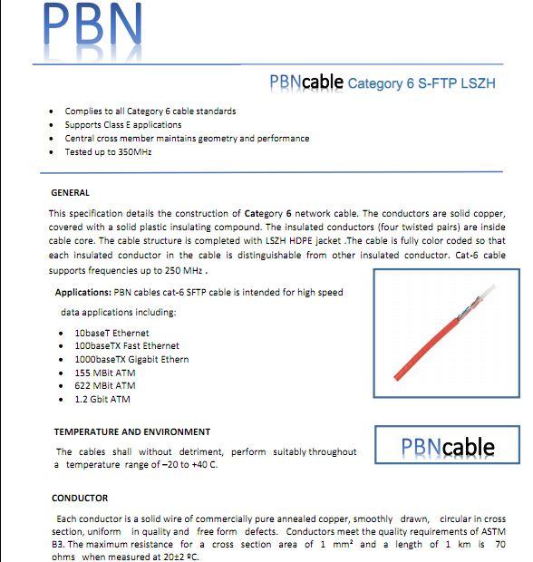 دانلود مشخصات فنی کابل شبکه CAT6 SFTP PBN با روکش  LSZH