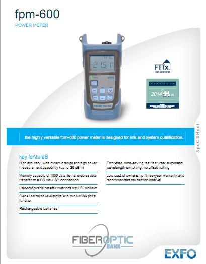 دانلود مشخصات فنی پاورمتر اکسفو مدل fpm-600