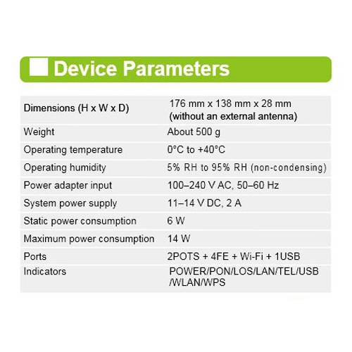 پارامترهاای Huawei HG8245A ONT