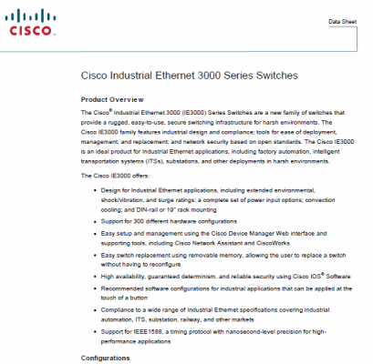 سوئیچ صنعتی سیسکومدل Cisco IE-3000-8TC
